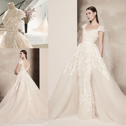 princess wedding dresses detachable skirt Canada - Elie Saab 3D Floral Applique Overskirt Princess Cathedral Train Wedding Dresses with Detachable Train 2018 Cap Sleeve Bridal Dress
