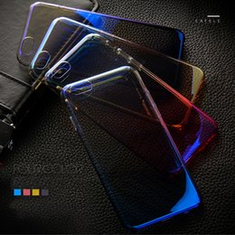 Discount color change phone case - Gradual Change Electroplate Flash Streamer phone case For iPhone7 Plus 6 Plus PU Back covers Luxury 4 Color Mobile phone