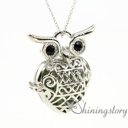 $enCountryForm.capitalKeyWord Australia - owl heart openwork diffuser necklace diffuser necklaces wholesale jewelry scents essential oil locket metal volcanic stone