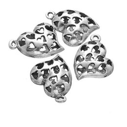 14k gold jewerly Australia - 100 pcs antique silver heart charm pendant good for jewerly making, DIY craft, etc free shipping