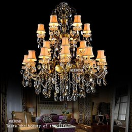 Fashion Big Crystal Chandelier Lighting Fixture Antique Brass Color Large Hanging Light Fitting Bronze For Foyer Hallway Dining Room