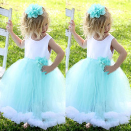 Wholesale flower aqua green for sale - Group buy Adorable Flower Girl Dresses Gowns Puffy Little Girls Dress Special Occasion Formal Gowns White and Aqua Blue Handmade Flower Ruffles