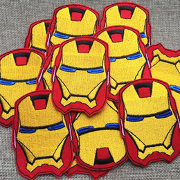 $enCountryForm.capitalKeyWord NZ - 6cm*8.4CM iron Man Badge embroidered Appliques DIY accessory garment bag hot paste patch