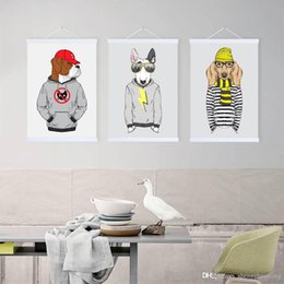Hipster Painting NZ - Modern Hippie Hipster Living Kids Room Wall Art Original Fashion Animal Man Dogs A4 A3 Large Poster Prints Canvas Painting Gifts