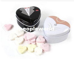 Groom Tin Candy Box UK - 100pairs=200pcs Tin Heart Box Groom and Bride Wedding Favors Metal Candy Boxes Storage