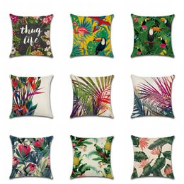 cushion f NZ - Pillowcase Linen Cotton 45*45 CM Square Soft Cushion Colorful Woodpecker Rain Forest Plant Cover Sofa Bed Pillow Case Home Decor 5kh F R