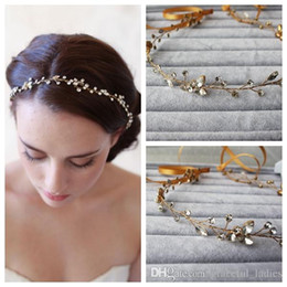 $enCountryForm.capitalKeyWord Australia - Gold Crystal Wedding Hair Accessories Headband Bridal Headpiece With Ribbon High Quality Handmade Custom Wedding Hair Rhinestones Head Piece