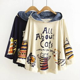 Barato Japonês Bonito Ocasional-2016 New Autumn and Winter Hoodies Hooded Loose Print Gato 2 Cor Kawaii Japão Style Harajuku Hoodies Tops Cute Warm