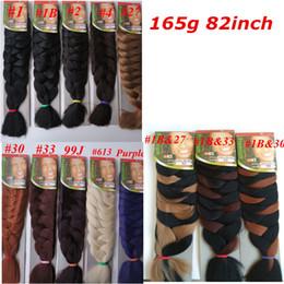 Wholesale Xpression Synthetic Braiding Hair 82inch 165grams single color Premium Ultra Braid Kanekalon jumbo braid Hair Extensions