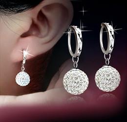 925 silver austria crystal online shopping - 925 Sterling Silver Drop Earrings Shambala Diamond Ball Rhodium Plated Stud Earrings Austria Crystal Dangle Jewelry Female Wedding
