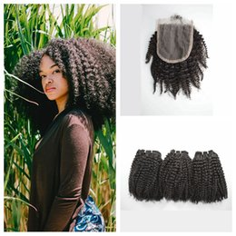 $enCountryForm.capitalKeyWord Canada - Brazilian Afro Kinky Curly Hair Bundles With Lace Closure 4x4 Free Middle Three Part 100% Human Hair Can Be Dyed G-EASY