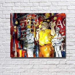 Band Paint Canada - Wall Hanging Hand Painted Modern Singing Band Oil Painting Home Decoration Wall Pictures Large Canvas Art No Framed