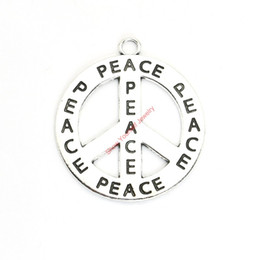 China 10pcs Antique Silver Plated Peace Sign Charms Pendants for Bracelet Jewelry Making DIY Necklace Craft 41mm supplier jewelry peace sign necklace suppliers