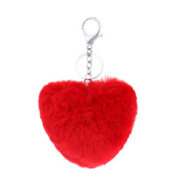 Fur Rabbit Heart UK - Lanway Popular Key chain Rabbit Fur Ball Key Rings Gift Genuine Rabbit Fur Bag Pendant Phone Tassel Fur Pompom Accessory Heart Shaped