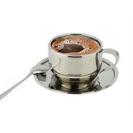 Опт Оптовая продажа-120 мл кофейные кружки высокого качества из нержавеющей стали блюдце и ложка из нержавеющей стали двойной стены кофейная кружка