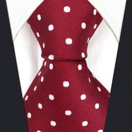 $enCountryForm.capitalKeyWord Canada - S15 Dots Red Crimson White Mens Ties Neckties 100% Silk Extra Long Size Jacquard Woven Fashion New