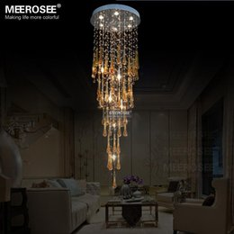 Elegant Yellow Crystal Ceiling Light Fixture Longstair Large Crystal Lamp  For Hall Lustre, Stairs, Foyer Crystal Stair Lighting Elegant Ceiling Lamps  On ...