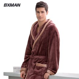 brand new winter robe men polyester mens hooded flannel bathrobes winter casual long bathrobes men homewear robes 41 inexpensive men s - Mens Bathrobes