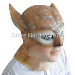 $enCountryForm.capitalKeyWord Canada - Beauty Deer Demon latex Mask Full Head Halloween Rubber Masks For Sexy Women Girl Masquerade Party Costume Props Adult Size