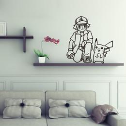 $enCountryForm.capitalKeyWord Canada - Poke wall sticker Ash Ketchum and pikachu cartoon sickers black white sketch stickers 56*57cm for kids room Decor T403-4