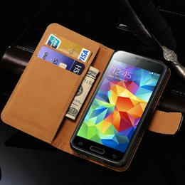 case for samsung galaxy s5 mini Canada - Wholesale-Leather Wallet Flip Case For Samsung Galaxy S5 mini Luxury Phone Cover With Stand Display 2 Card Holders Coque Black For S5 Mini