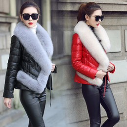 $enCountryForm.capitalKeyWord Canada - Women's luxury genuine sheepskin leather duck down padded long sleeve fox fur collar sashes slim waist parka short coat casacos