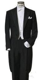 Groom White Tail Tuxedo UK - Classic Black Tailcoat Groom Tuxedos Long Tail Men Wedding Suits Bridegroom Best Man Groomsmen Wedding Party Prom Suits (Jacket+Vest+Pants)