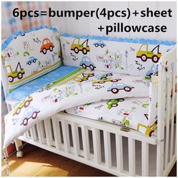 Linen Crib Bedding Sets Canada - Promotion! 6PCS baby bedding set Bed Linen baby girl crib bedding set baby crib set ,include(bumpers+sheet+pillow cover)