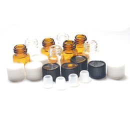 $enCountryForm.capitalKeyWord Canada - Factory price 1ml Clear Glass Essential Oil Bottle 1 4 Dram Amber Bottle Perfume Sample Tubes Bottle With Plug And Caps
