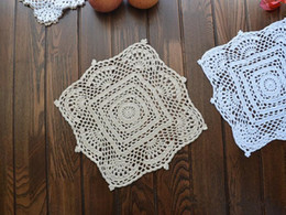 $enCountryForm.capitalKeyWord Canada - 100% Handmade~ 28CM suqare table mats, pure cotton doilies square, hand crocheted placemats coasters, wedding centerpieces ~ Set of 2 pcs