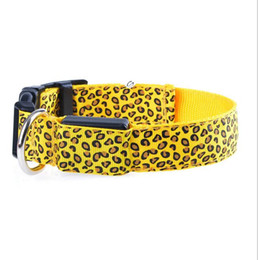 Chinese  USB Charge LED Flashing Dog Collar With diffent colors Flexing leopard Collar Adjusted leashes Pet collars manufacturers