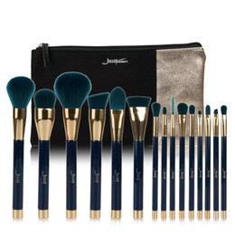 $enCountryForm.capitalKeyWord Australia - Jessup Brand 15pcs Beauty Makeup Brushes Set Make Up Brush Tool Blue and Darkgreen T113 Cosmetics Bags Women Bag Cb002