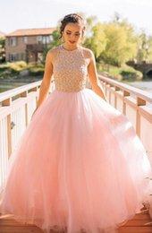 $enCountryForm.capitalKeyWord NZ - High neck Party Dress fluffy Prom Dresses Baby Pink Evening Dress vestidos de gala largos elegantes robe de soiree