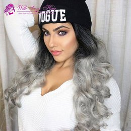 Half Lace Wig Brazilian Hair Australia - 9A Brazilian Human Ombre Human Lace Front Wig Black Grey Lace Front Wig Two Tone Gray Human Hair Wigs GREY Full Lace Wigs