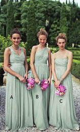 Barato Vestidos De Dama De Honra Chiffon Chiffon-<b>Sage Chiffon Bridesmaid Dresses</b> 2017 Novo plissado A Line Floor Length Maid of Honor Vestidos Formal Wedding Guest Dresses Custom BA6246