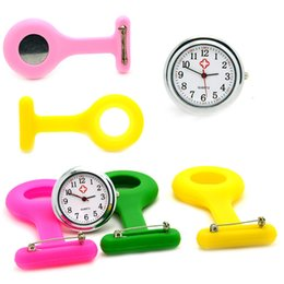 Discount nurse doctor pocket watch - Silicone Nurse Pocket Watch Doctor Medical Fob Quartz Watch Kids Gift Watches Candy Color 20 Patterns Wholesale 100pcs l
