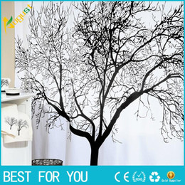 Hot Fashion New Big Black Scenery Tree Design Bathroom Waterproof Fabric Shower Curtain