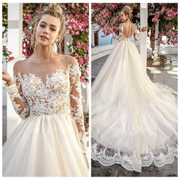 Robe Nuptiale Nuptiale Pas Cher-2017 Nude Sheer Top Lace Long Sleeves Custom Garden Robes de mariée Illusion Tulle Back Appliques Vestidos Plus Size Beach Bridal Gowns