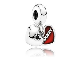 China Fits Pandora Sterling Silver Bracelet Red Mickey Double Heart Dangle Pendant Beads Charms For European Snake Charm Chain Fashion DIY Jewelry supplier jewelry mickey suppliers