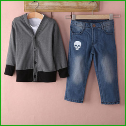 $enCountryForm.capitalKeyWord NZ - 3pcs hot selling baby boys autumn winter clothing suits long sleeve t-shirts +sweater + jeans long pantshigh quality big selling cheap price