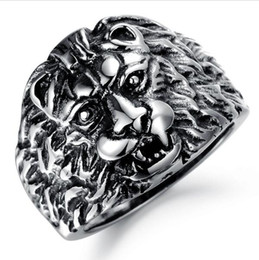 stainless steel lion rings Canada - GJ Jewelry Trendy Stainless Steel Man Ring Personalized Classical Design Punk Rock Lion Vintage Men Jewelry 433