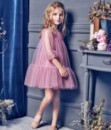 $enCountryForm.capitalKeyWord Canada - Gorgeous Pink Illusion Long Sleeve Flower Girl Dresses For Wedding 2016 Tulle Ruffles Layered Princess Girls Pageant Dresses Ball Gowns