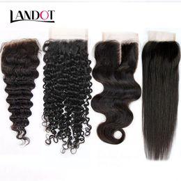 Discount cambodian loose curly hair - 8A Peruvian Malaysian Indian Brazilian Virgin Human Hair Lace Closure Cambodian Mongolian Body Wave Straight Loose Deep