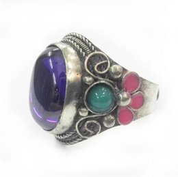 $enCountryForm.capitalKeyWord Canada - RARE MIAO SILVER OLD INLAY Purple Zircon Cloisonne Enamel Flower Noble Ring