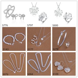 mixed style sterling silver jewelry sets,fashion 925 silver Necklace Bracelet Earring Ring jewelry set GTS68 free shipping on Sale