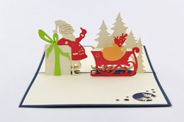 pop up santa card Canada - 3d greeting card christmas greeting card christmas decoration christmas cards for bessing cards santa claus give gift pop up greeting card