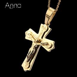8b2c00ab34f5 A  N Necklace Pendant Brand Necklace Silver Gold Color Jewelry Antique Cross  Crucifix Jesus Cross Pendant Necklaces For Women Men