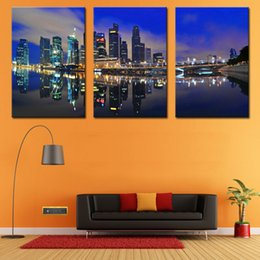 Oil Night Canada - 3 Piece Wall Art Painting Night Scene Pictures Prints On Canvas City The Picture Decor Oil For Home Modern Decoration Print For Bedroom