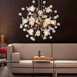 minimalist luxury lighting 2019 - Flower LED Crystal Chandelier Luxury Living Room Bedroom Creative American Crystal Light Modern Minimalist Restaurant Li