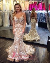 $enCountryForm.capitalKeyWord NZ - Chic Champagne Evening Prom Dresses with White Lace 2016 Special Occasion Dress Mermaid Jewel Illusion Bodice Ruffled Formal Party Gowns